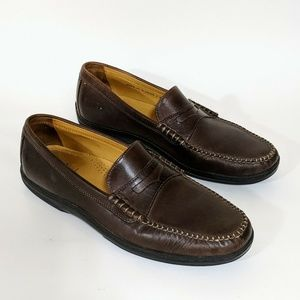 Cole Haan Brown Leather Air Penny Loafers Mens sho
